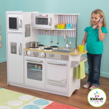jouets des bois cuisine en bois uptown blanche kidkraft. Black Bedroom Furniture Sets. Home Design Ideas