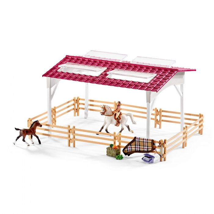 jouets des bois centre questre avec cavali re chevaux et. Black Bedroom Furniture Sets. Home Design Ideas