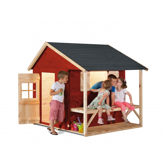 Maisonnette en bois friendly park brut lasurer for Lasurer un escalier en bois