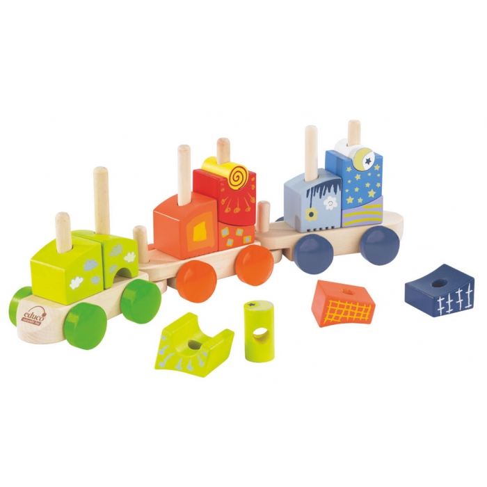 jouet en bois petit train en bois hape train cubes hape e0417 jouets des bois. Black Bedroom Furniture Sets. Home Design Ideas